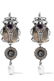 Alexander McQueen Silver-tone multi-stone earrings