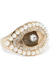Alexander McQueen Gold-tone, Swarovski crystal and faux pearl ring