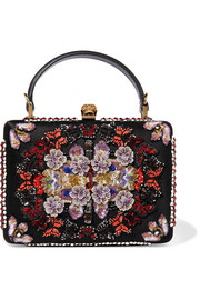 Embellished appliquéd canvas and satin clutch