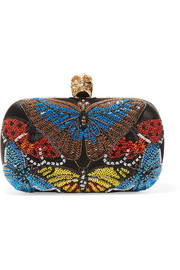Alexander McQueen Skull sequined satin box clutch