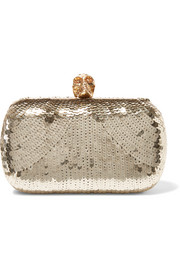 Skull sequined satin box clutch