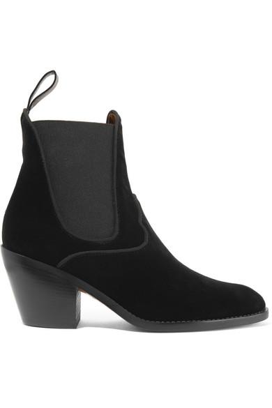 Chloé - Velvet Ankle Boots - Black