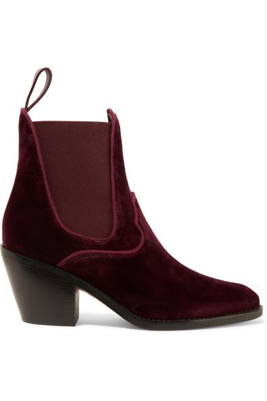 Chloé - Velvet Ankle Boots - Merlot