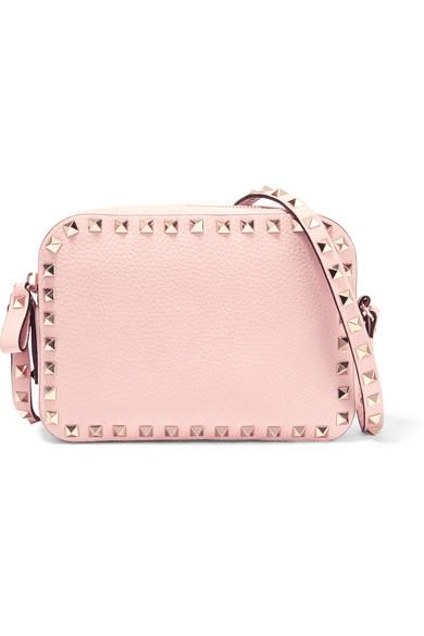 Valentino - The Rockstud Textured-leather Shoulder Bag - Baby pink