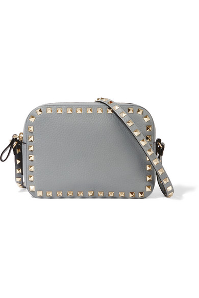 Valentino - The Rockstud Textured-leather Shoulder Bag - Gray