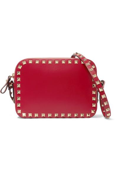 Valentino - The Rockstud Leather Shoulder Bag - Red
