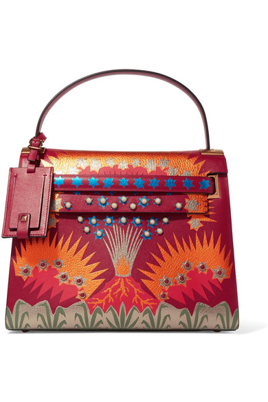Valentino - My Rockstud Large Patchwork Leather Tote - Red
