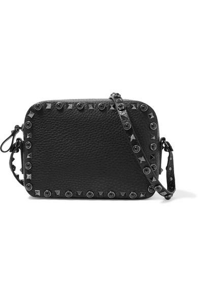Valentino - The Rockstud Rolling Textured-leather Shoulder Bag - Black
