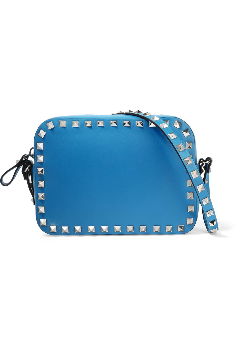 Valentino The Rockstud Leather Shoulder Bag, Bright Blue, Women's