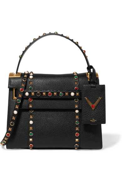 Valentino - My Rockstud Small Embellished Textured-leather Tote - Black