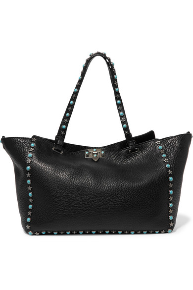 Valentino - The Rockstud Large Textured-leather Trapeze Bag - Black