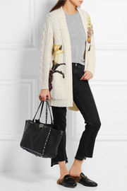 Valentino The Rockstud large textured-leather trapeze bag