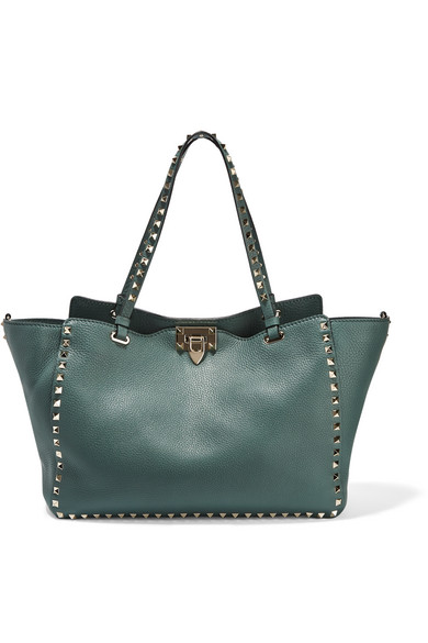 Valentino - The Rockstud Large Textured-leather Tote - Forest green