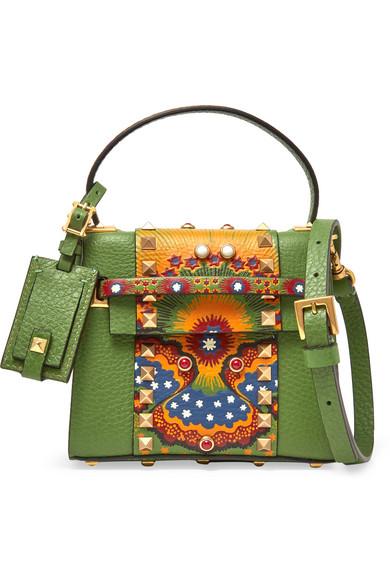 Valentino - My Rockstud Micro Printed Leather Shoulder Bag - Leaf green