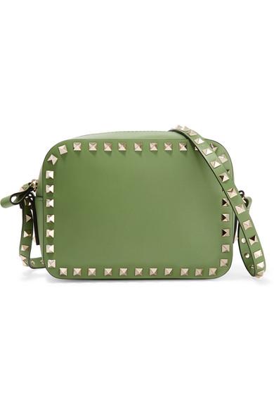 Valentino - The Rockstud Leather Shoulder Bag - Leaf green