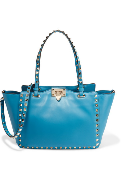 Valentino - The Rockstud Small Leather Trapeze Bag - Bright blue