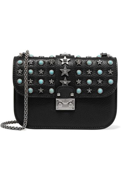 Valentino - Lock Small Embellished Textured-leather Shoulder Bag - Black