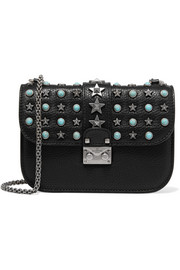 Valentino Lock small embellished textured-leather shoulder bag