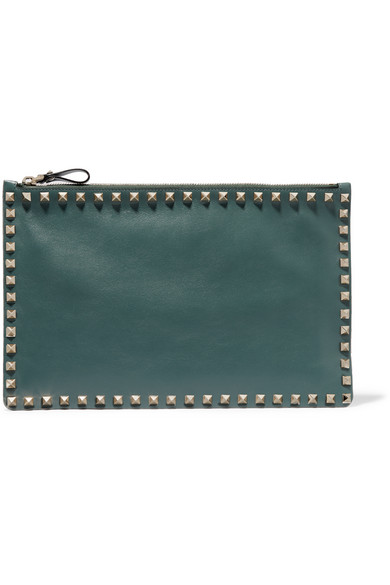 Valentino - The Rockstud Leather Pouch - Forest green