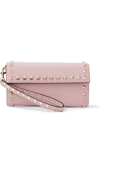 Valentino - The Rockstud Wristlet Leather Wallet - Baby pink