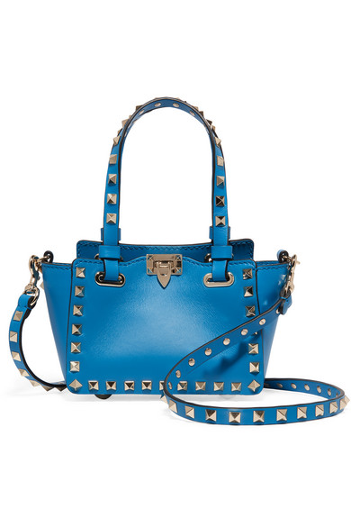 Valentino - The Rockstud Micro Leather Shoulder Bag - Bright blue