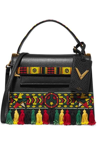 Valentino - My Rockstud Embellished Textured-leather Tote - Black