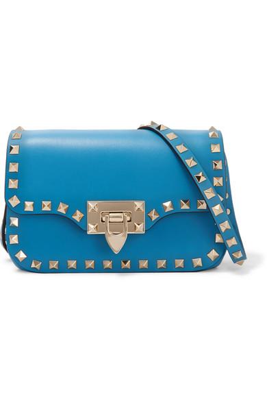 Valentino - The Rockstud Leather Shoulder Bag - Bright blue