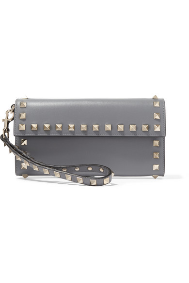 Valentino - The Rockstud Wristlet Leather Wallet - Gray
