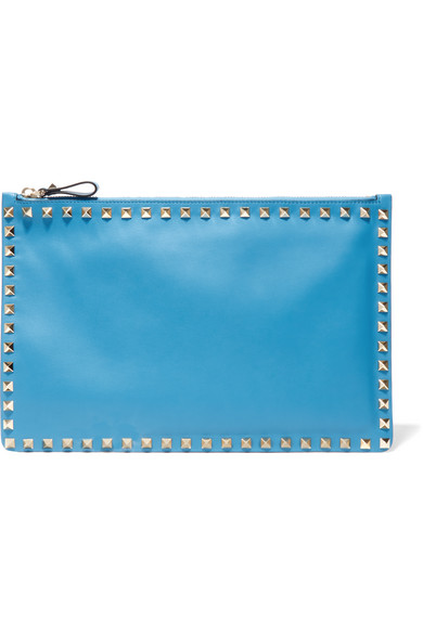 Valentino - The Rockstud Leather Pouch - Light blue