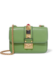Valentino Lock mini embellished textured-leather shoulder bag