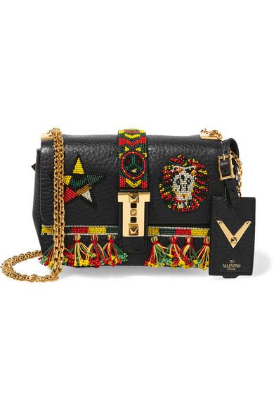 Valentino - B-rockstud Micro Embellished Textured-leather Shoulder Bag - Black