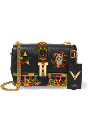 Valentino B-Rockstud micro embellished textured-leather shoulder bag