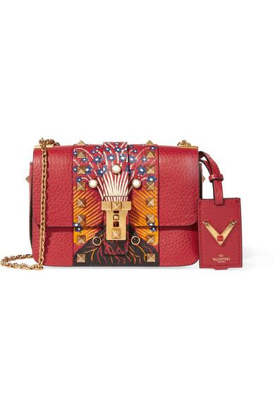 Valentino - B-rockstud Micro Printed Textured-leather Shoulder Bag