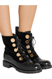 Alexander McQueen Leather and velvet boots