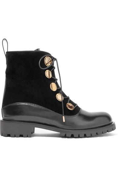 Alexander McQueen - Leather And Velvet Boots - Black