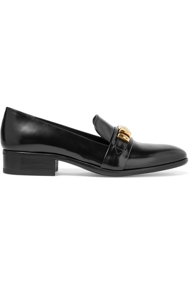 Alexander McQueen - Embellished Leather Loafers - Black