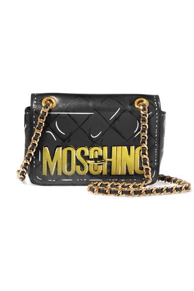 Moschino - Printed Leather Shoulder Bag - Dark gray