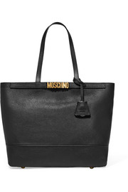Embellished textured-leather tote