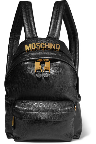 Moschino - Embellished Textured-leather Backpack - Black