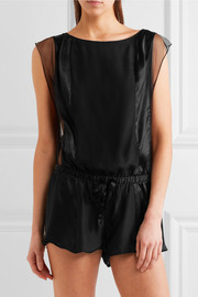 Tulle-trimmed silk-satin playsuit