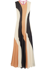 Roksanda Paneled silk-seersucker and silk crepe de chine dress