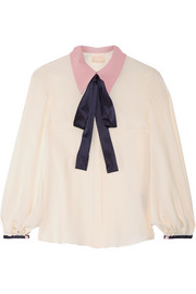 Roksanda Blythe pussy-bow satin-trimmed crepe de chine blouse