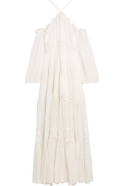 Zimmermann Good Times lace-paneled Swiss-dot silk-georgette maxi dress