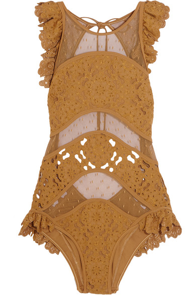 zimmermann female 123928 zimmermann good times ruffled broderie anglaise and point desprit swimsuit mustard