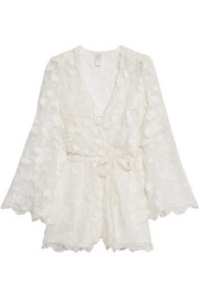 Good Times wrap-effect fil coupé silk playsuit