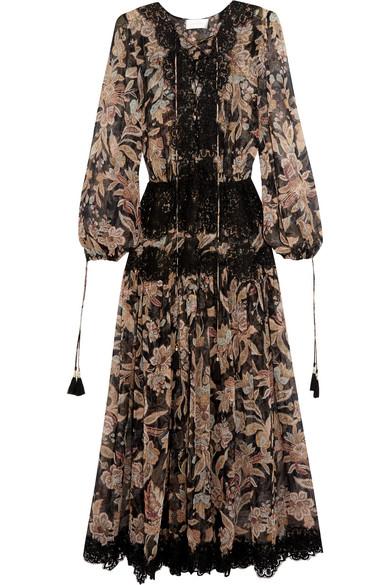 zimmermann female 188971 zimmermann good times lacepaneled printed silkgeorgette dress black