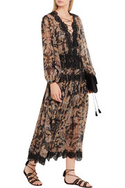 Good Times lace-paneled printed silk-georgette dress