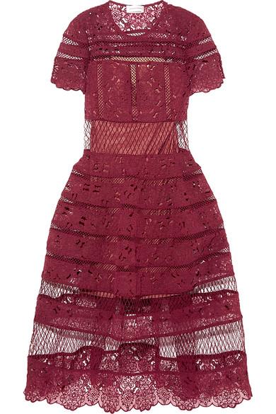 zimmermann female 215965 zimmermann good times guipure lace dress burgundy