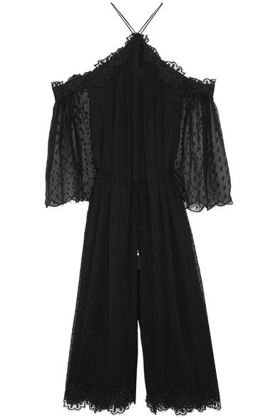 zimmermann female 188971 zimmermann good times lacetrimmed swissdot silkgeorgette jumpsuit black