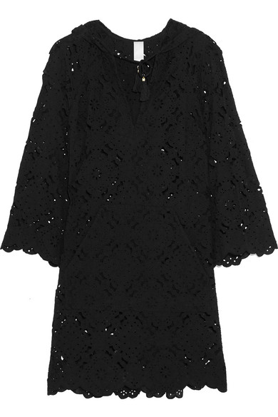 zimmermann female 188971 zimmermann good times hooded broderie anglaise cotton dress black